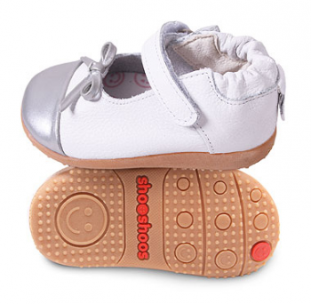 Туфли из натуральной кожи SHOOSHOOS Silver White / Silver Ballet Smiley