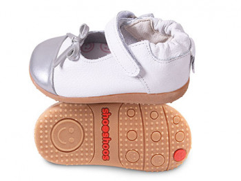 Туфли из натуральной кожи SHOOSHOOS Silver White / Silver Ballet Smiley SMY5 (размер 6)